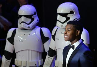 British actor John Boyega attends the opening of the European premiere of Star Wars: The Force Awakens'in central London on Dec. 16, 2015. JUSTIN TALLIS/AFP/Getty Images