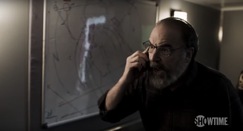 WHEN HAS MANDY PATINKIN EVER LOOKED CALM? NEVER!!!! Image: Showtime