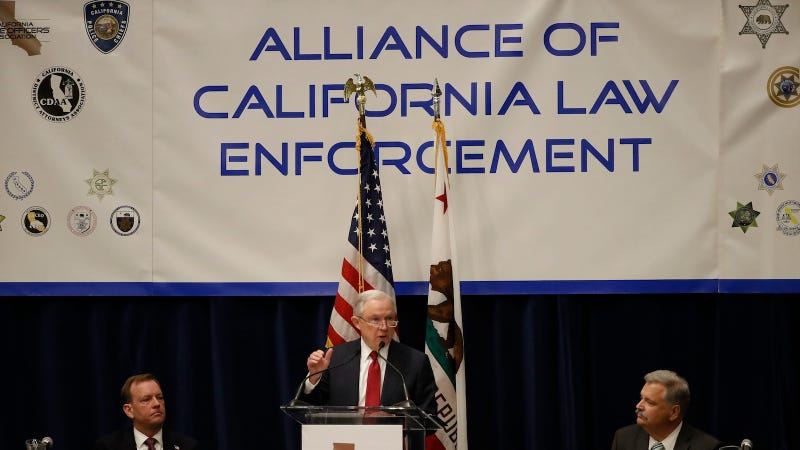 Attorney General Jeff Sessions speaks at the California Peace Officers' Association 26th Annual Law Enforcement Legislative Day on March 7, 2018 in Sacramento, California.