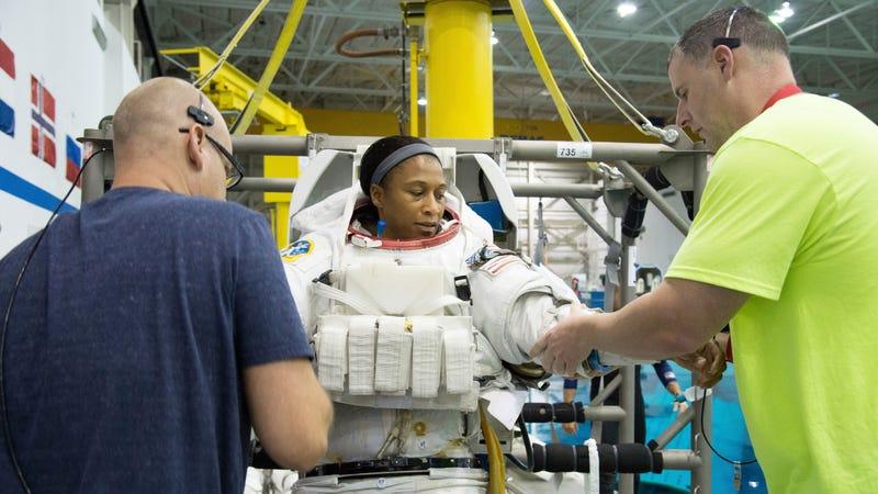 Jeanette Epps undergoing spacewalk training at Johnson Space Center in 2014.