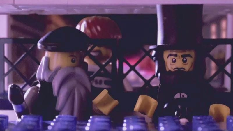 Illustration for article titled Lincoln and Michelangelo are History Cops in a Lego Movie faux trailer