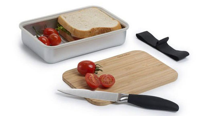 Illustration for article titled This Aluminum Lunch Box Comes With Its Own Cutting Board Lid