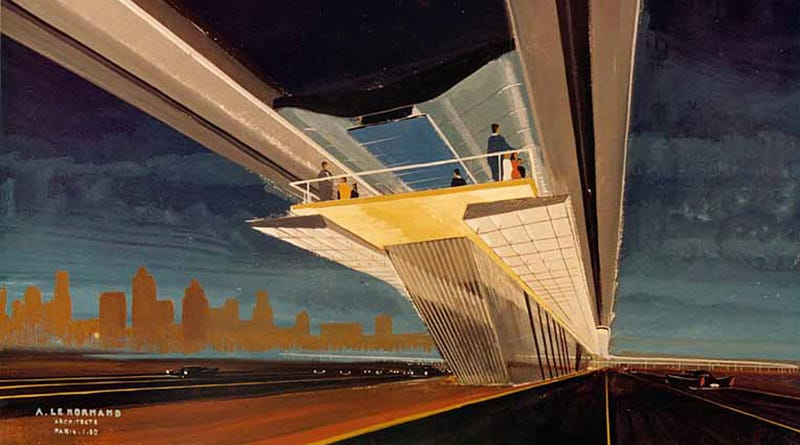 Illustration for article titled I Want to Live Inside This 1960 Painting of a Monorail Station