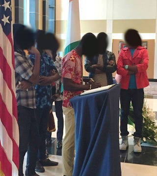 The photo of the six men (faces blurred) that the U.S. Embassy in Abidjan, Ivory Coast, sharedU.S. Embassy Abidjan