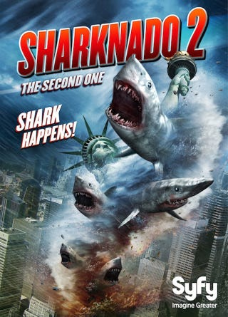 Illustration for article titled Everything About The Sharknado 2 Poster Is So Wrong It's Right