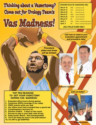 Illustration for article titled A Vasectomy, Frozen Peas, The NCAA Tournament And You