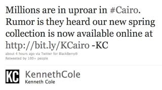 Illustration for article titled Kenneth Cole Uses Egypt Crisis As Opportunity To Plug New Line