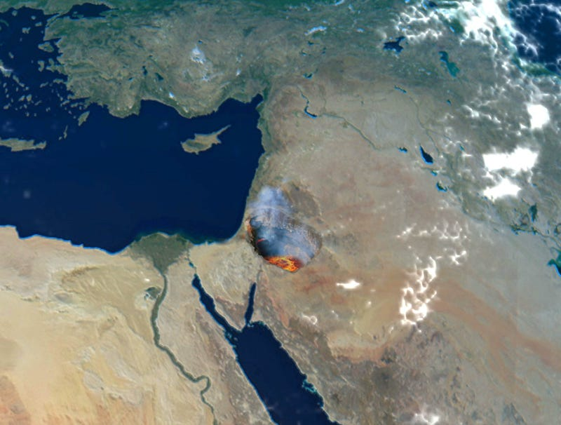 Illustration for article titled Decades Of Blasts In Middle East Beginning To Expose Earth's Mantle