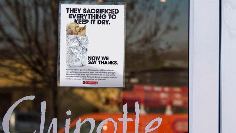 Illustration for article titled Heartwarming: Chipotle Is Offering A $40 Gift Certificate To The Family Of Anyone Who Dies While Preventing A Chipotle Burrito From Getting Wet