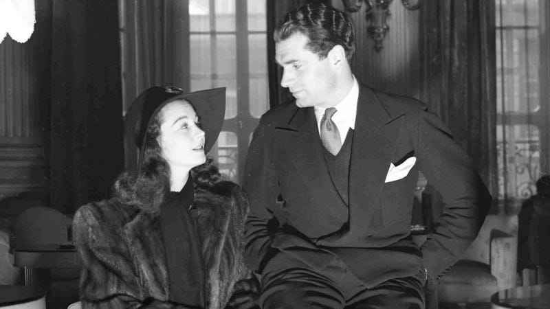 Vivien Leigh and Lawrence Olivier in 1941, shortly after their marriage. Photo via AP Images.