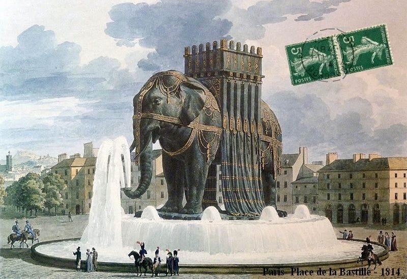 Illustration for article titled Milyen lenne a párizsi Diadalív helyén egy bazi nagy elefánt?