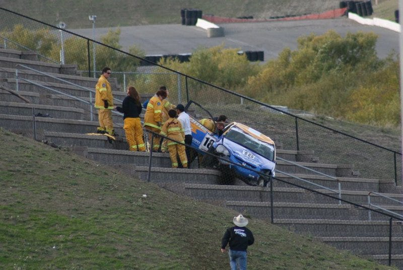 Illustration for article titled Spoon Sports JDM Honda Integra Launches Into Stands, Miraculously Injures No One
