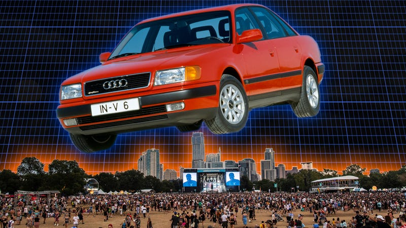 A giant vintage Audi does in fact hover over the Austin skyline, but only I can see it