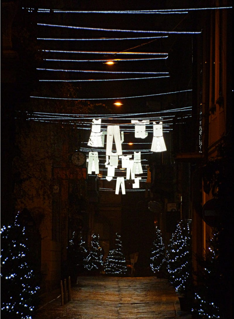 Illustration for article titled In Milan, They Decorate the Streets with Glow-in-the-Dark Underpants