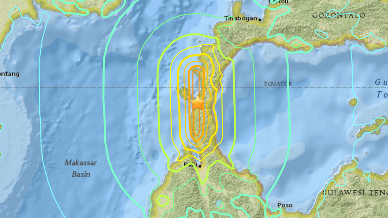 The epicenter of the strongest earthquake that triggered a tsunami in Indonesia on Friday.