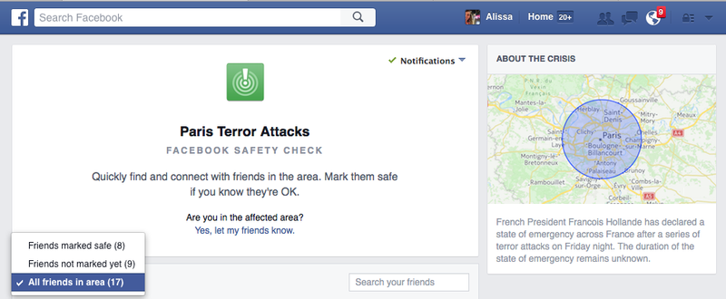 "Illustration for article titled Facebook's ""Safety Check"" Lets You Locate Loved Ones in Paris"