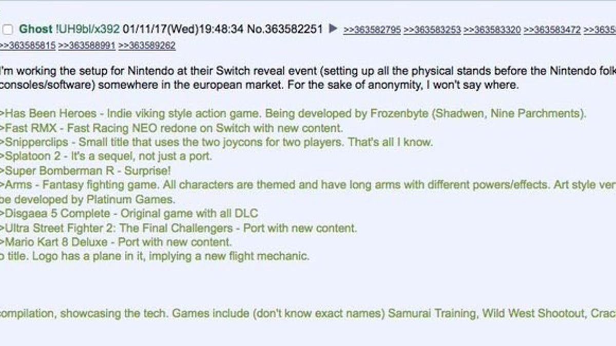 A Random 4chan Poster Leaked Nintendo's Switch Event Before