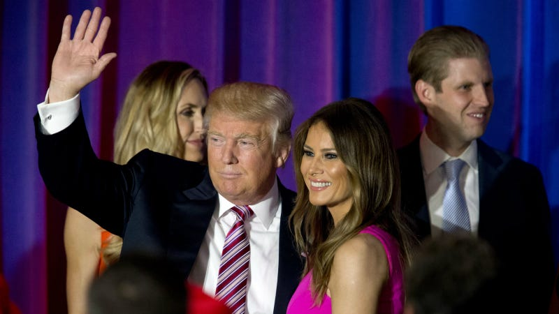 The Trumps leave a news conference at the Trump National Golf Club Westchester in Briarcliff Manor, NY. Photo via AP
