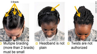 U.S. Army hairstyle guidelines created some controversy.Twitter screenshot