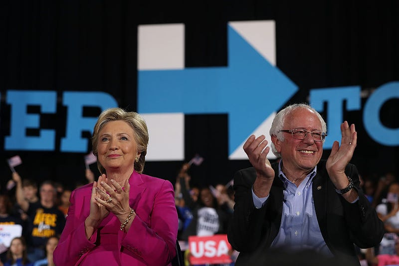 Hillary Clinton and Sen. Bernie Sanders Clinton (Justin Sullivan/Getty Images)