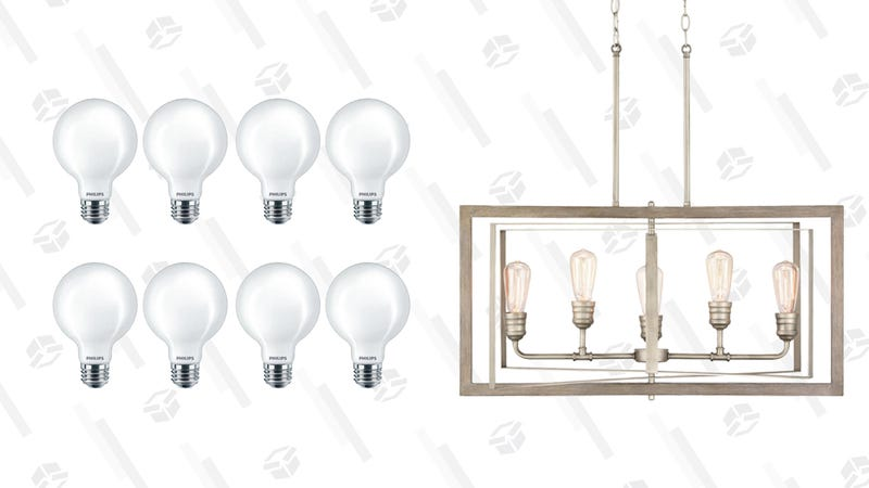 Home Depot Light Bulb and Fixture Sale | Home Depot | Discount Applied in CheckoutPhilips 60-Watt Frosted Globe LED Bulbs | $37 | Home DepotHome Decorators Collection Antique Nickel Chandelier | $196 | Home Depot