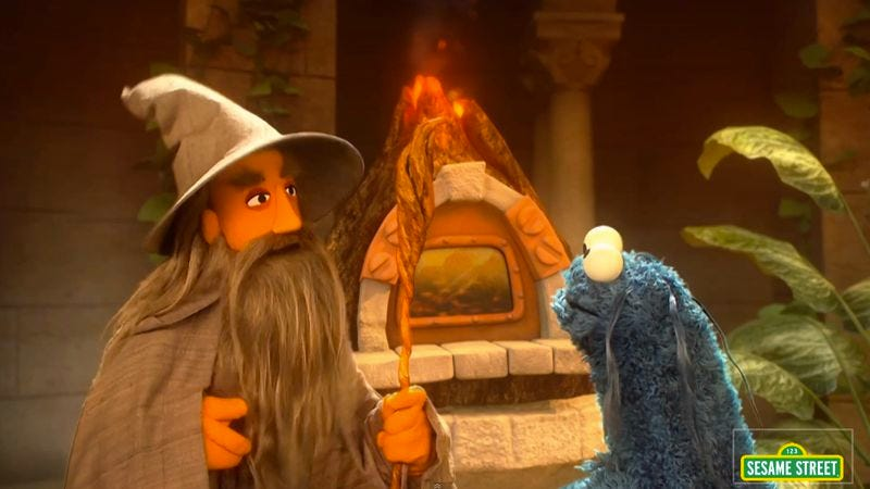 Illustration for article titled One does not simply ignore Sesame Street's new Lord Of The Rings parody