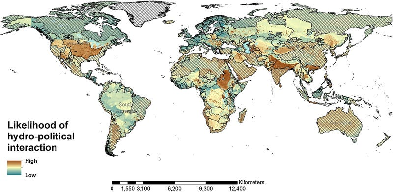 Map showing where water-related interactions—both good and bad—are likely to happen within the next 50 to 100 years, given current trends in climate change and population growth.