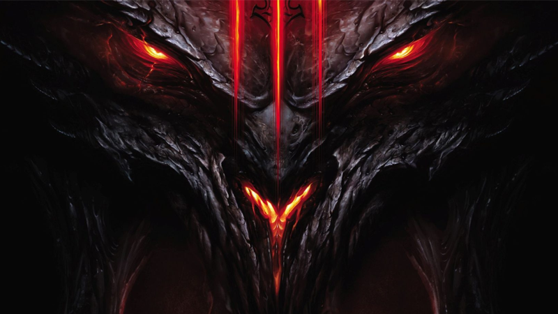 The dread Diablo peers out from the box art for Diablo III.
