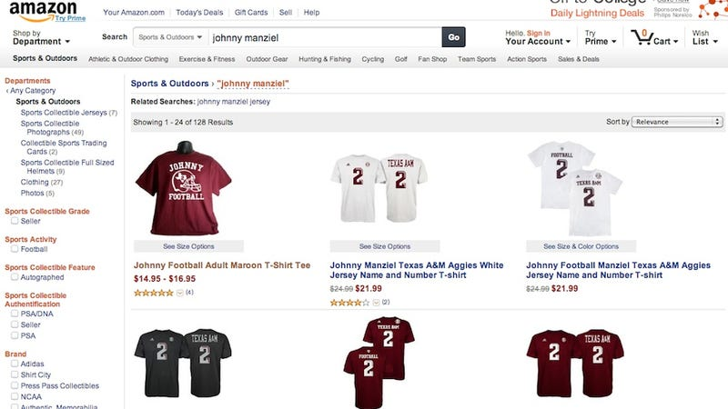 Illustration for article titled Hey, The NCAA, You're Still Selling Johnny Manziel Jerseys Here, Too