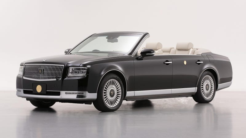 Illustration for article titled This Is The New Japanese Emperor's Opulent One-Off Toyota Century Convertible