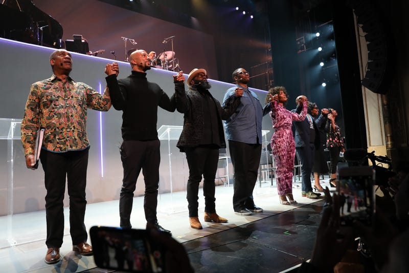 Joe Morton, Common, Black Thought, Greg Reid, Angela Bassett, Marc Bamuthi Joseph, Pauletta Washington and Michelle Wilson taking a bow after Between the World and Me on April 2, 2018, in Harlem