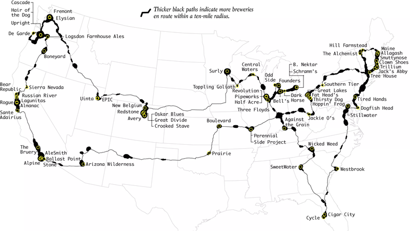 Visit The Best Breweries In The US In One Road Trip - Us map best roadtrip map