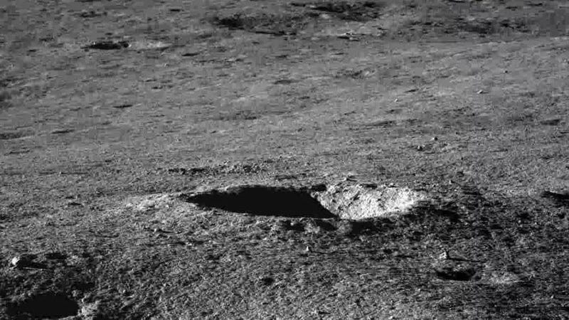 A view of the lunar surface captured by the Yutu 2 rover.