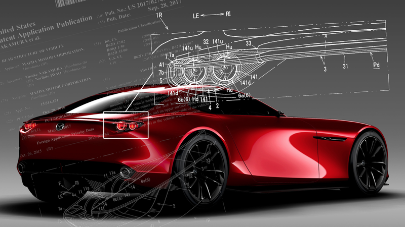 Illustration for article titled Mazda Patent Shows Novel Active Spoiler Design That May Already Be On The RX-Vision Concept