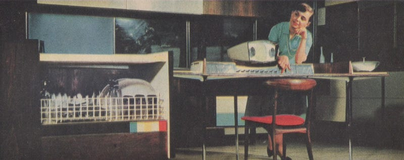 """Illustration for article titled The 1950s """"Miracle Kitchen"""" of the Future Had Its Own Roomba"""