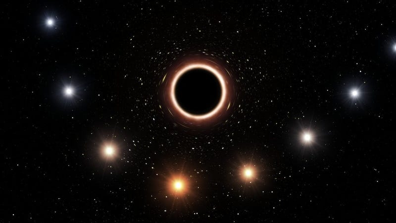 Artist's impression of starlight's wavelength stretched by a black hole