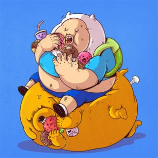 Illustration for article titled Morbidly obese versions of iconic pop culture characters by Alex Solis