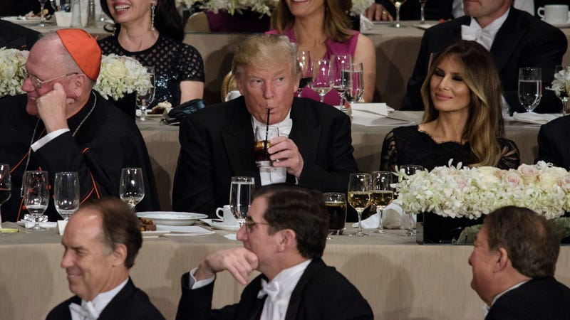 From left: Cardinal Timothy Dolan, Archbishop Of New York, Donald Trump, and Melania Trump at a dinner at Waldorf Astoria in October 2016.  (Photo: Brendan Smialowski/AFP/Getty Images)
