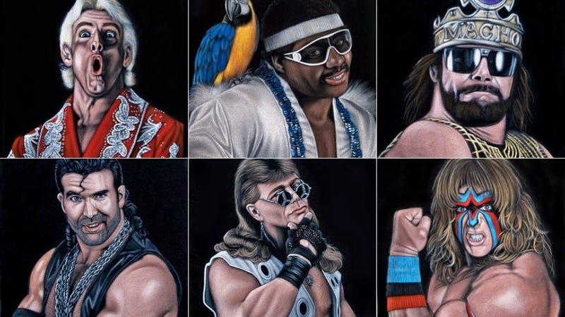 Illustration for article titled Some Genius Painted 35 Black Velvet Portraits Of Pro Wrestlers