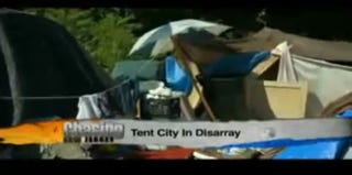 A tent city in Camden, N.J. (screenshot from My9NJ)