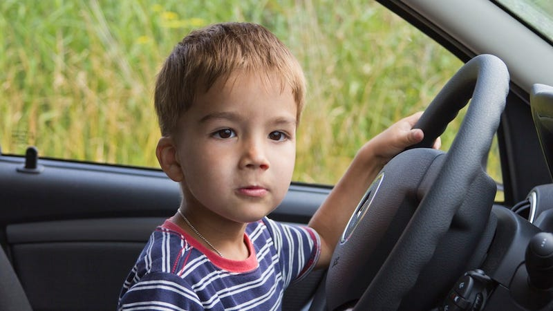 Illustration for article titled Reckless Toddler Drives Jeep Into Wall and Acts Like NOTHING Happened