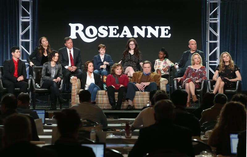 Production crew and cast of Roseanne in January 2018 in Pasadena, Calif.