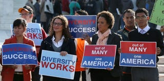 Protesters outside Supreme Court before arguments in Fisher v. University of Texas, Oct. 10, 2012 (Mark Wilson/Getty Images)
