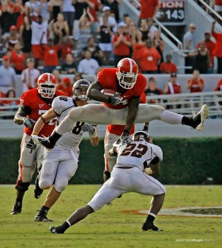 """Illustration for article titled Mark Richt Says ESPN """"Didn't Do Their Homework"""" On Knowshon Moreno Run"""