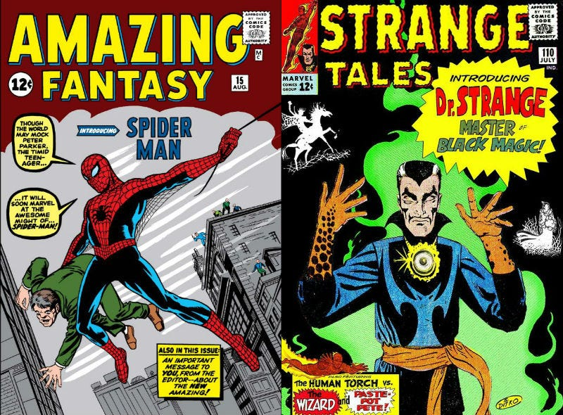 Amazing Fantasy #15 and Strange Tales #110, books that featured the first appearances of two timeless Steve Ditko characters.