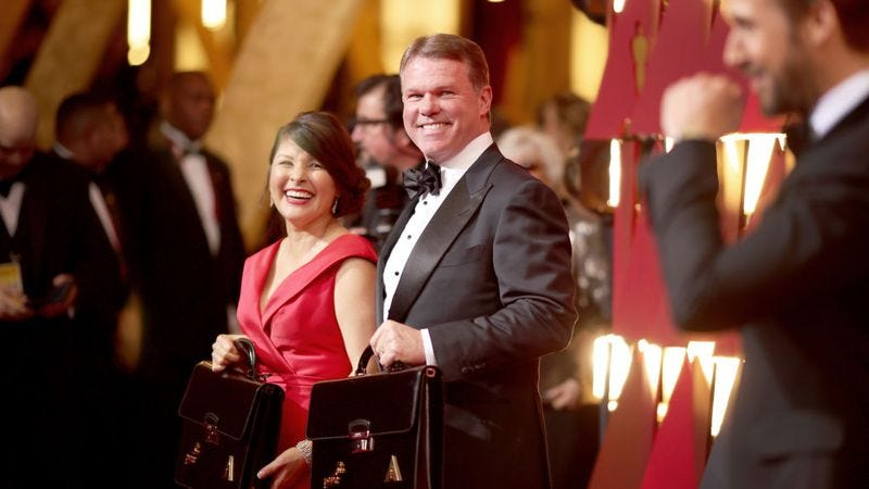 PricewaterhouseCoopers partners Martha L. Ruiz and Brian Cullinan backstage at last night's show. (Photo: Christopher Polk / Getty Images)