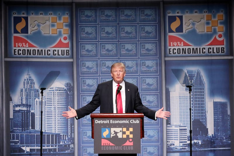 Republican presidential nominee Donald Trump speaks to the Detroit Economic Club on Aug. 8, 2016, in downtown Detroit.Salwan Georges/Detroit Free Press/TNS via Getty Images