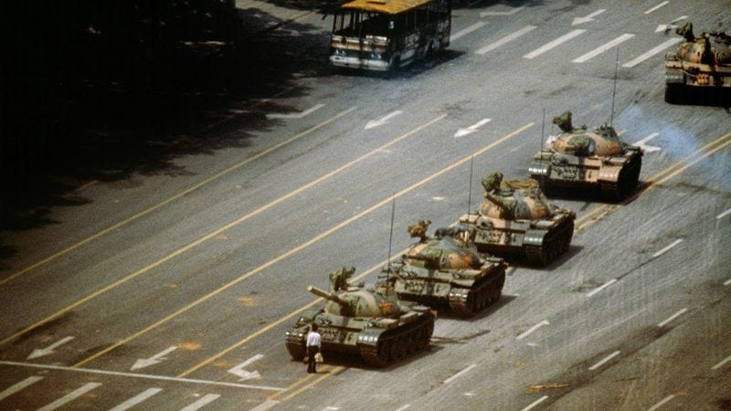 Illustration for article titled Remember Tank Man From China's Tiananmen Square Protest? Well Now He's Finally Getting A Tank