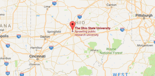 Map showing the location of the Ohio State UniversityWXYZ Screenshot