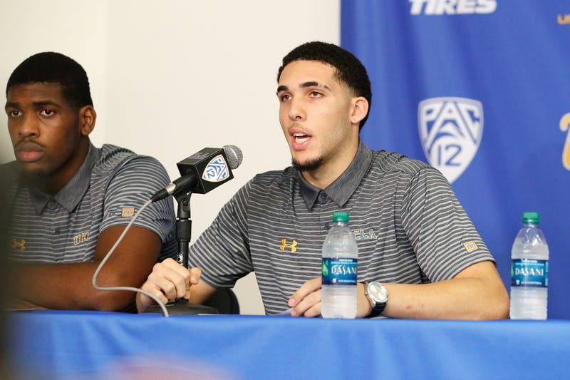 Cody Riley and LiAngelo Ball of UCLA  speak to the media during a press conference at Pauley Pavilion on Nov. 15, 2017, in Los Angeles (Josh Lefkowitz/Getty Images)